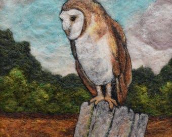 Wool Painting ~ Barn Owl Art ~ Needle Felted Owl ~ Felt Picture ~ Wildlife Art ~ Bird Art~ Bird Lovers gift