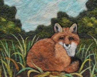 Wool Painting ~ Needle Felted Picture ~ Red Fox Felting ~ Nature ~ Wildlife Art ~ Fox Art ~ Needle Felt Landscape