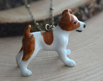 Hand Painted Porcelain Jack Russell Terrier Dog Necklace, Antique Bronze Chain, Vintage Style, Ceramic Animal Pendant & Chain (CA155)