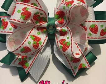 Hair Bow, Bow, Hair accessory, Strawberry Hair Bow, Barrette back