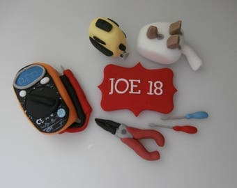 Edible electricians tools,cake topper,birthday,retirement,man,women,cake decoration