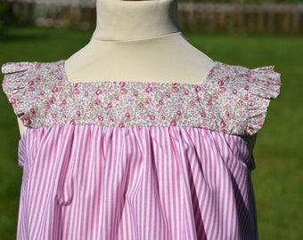 Pink Poplin striped dress and liberty ruffled sleeves