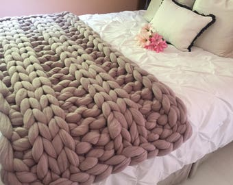 Chunky Knit Blanket, Merino Wool blanket, Chunky Knit Blanket , Arm knit