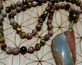 Grounding Mala, Jasper Mala, Polychrome, Tiger's Eye Mala, 108 Bead Knotted Mala, Prayer Beads, Buddhist, Buddha, Desert Jasper, Stabilizing