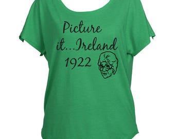 Golden Girls Inspired ST Patricks Patty's Day Dolman Off Shoulder Shirt