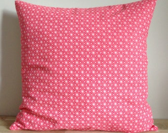 Cushion cover 40 x 40 cm of cotton and linen, pink and white.