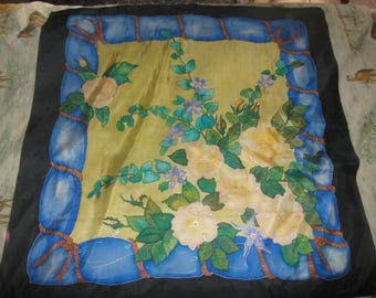 Silk scarf handpainted flowers Drape
