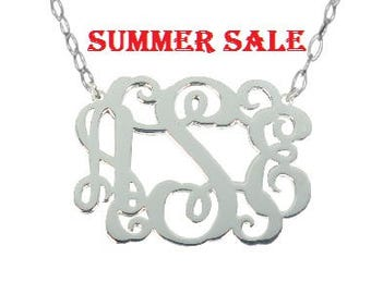 "Sterling Silver Monogram Necklace 1.25"" inch Personalized Monogram 925 sterling silver Bridesmaid gift"