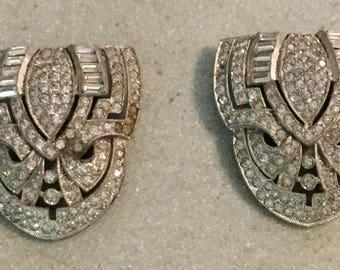 Art Deco Rhinestone Pair of Shoe Clips