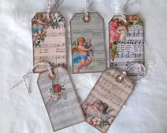 5 labels on sheet music string Angels