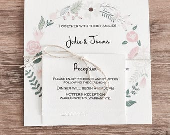 Personlised Wedding Invitation set. Rsvp. Reception. Wishing Well. Envelope. Floral wreath.