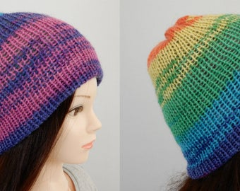 Reversible beanie ,knit hat, mohair hat, winter hat, knit hats women, knit beanie hat, skull beanie, knit toque, hats women, beanie women