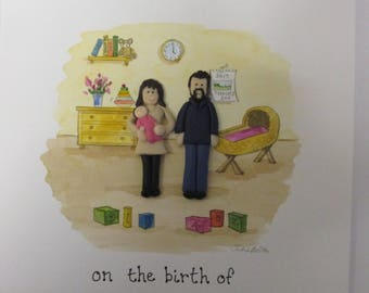 New Baby Card - Nursery and Family