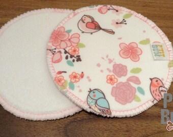 Pair of ready-to-ship - pink birds - nursing pads