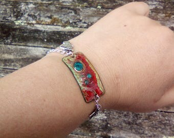 Enamel bracelet and charms