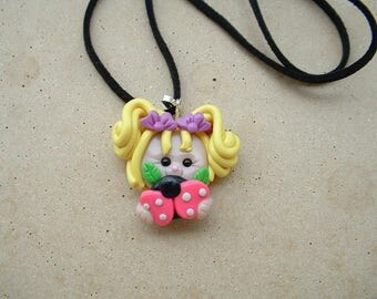 GIRL CHARM TO THE LADYBUG ON VELVET COLLAR