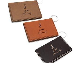 Full Name Monogram ID Holder - Engraved Initial Card Holder & Key Ring - Personalized Driver's License Holder - Monogram Card Wallet