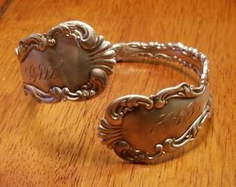 Adjustable sterling silver spoon handle wrap bracelet