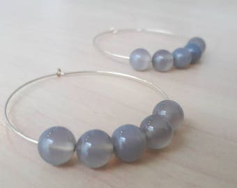MISTY, gold plated hoops and grey agate