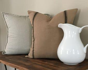 Farmhouse Pillow Cover Set of 2-Grain Sack Pillow Cover & Black Ticking Stripe Pillow Cover-Farmhouse Decor-Decorative Pillows-Home Decor