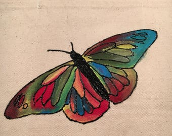 Hand painted Colorful Buttefly tote