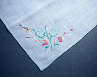 Vintage Craft Handkerchief, white, hand-embroidered flowers- pay it forward, PIF