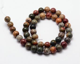 1 Strand 8mm Natural Picasso Jasper Gemstone Beads Round (B255g)
