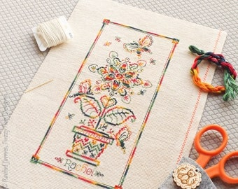 Variegated Flower Panel Cross Stitch Pattern PDF | Coloris ThreadworX Hand-Dyed Floss