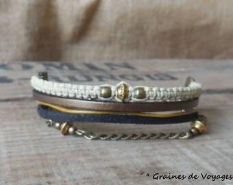 "Bracelet multi strand ethnic ""Ohm"" ૐ"