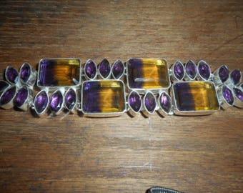 A crystal ametrine glass  toggle bracelet