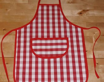 Personalized apron for child's red and white Plaid