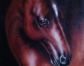 Dark Horse Oil Painting Horse