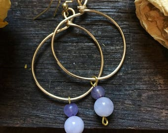 Wire wrappec gold hoops