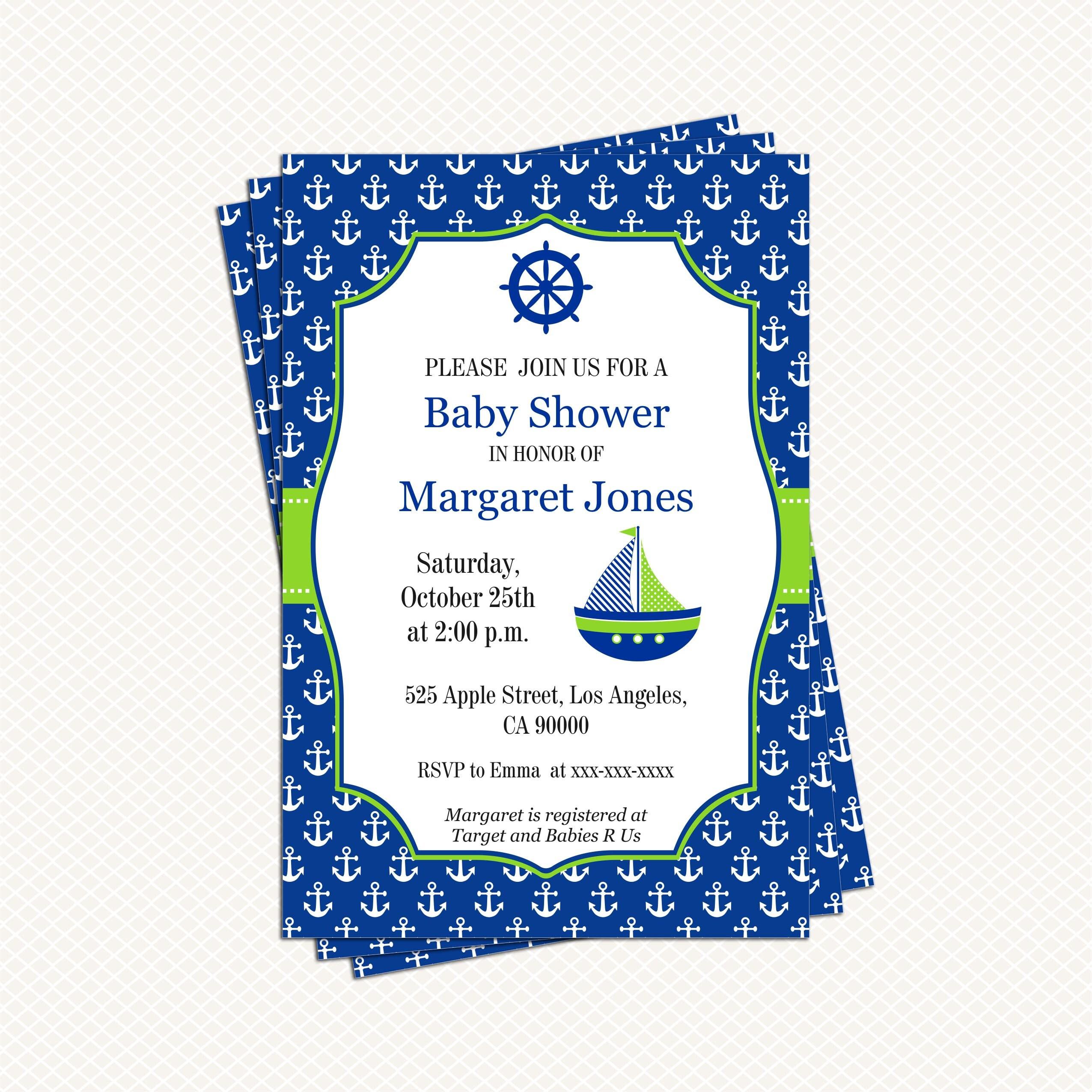 Nautical Baby shower Invitation Navy blue Green Boy Baby