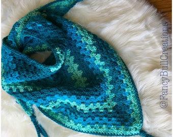 Handmade crochet Bandanna Triangle Shawl Scarf neck warmer Bufanda OOAK Fashion Accessory Fringe Scarf multi colors cute