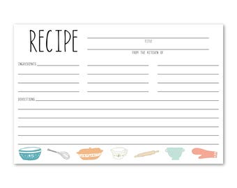 Cooking Utensils Recipe Cards