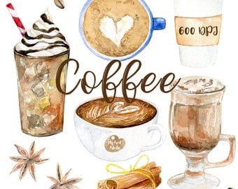 Watercolor Coffee clipart 600 dpi PNG, drink collection clipart, latte, PNG on transparent background for scrapbooking, DIY cards