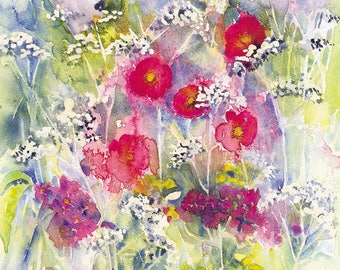 Cow Parsley and Poppies Watercolour Print