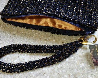 Elegant Wristlet Bag Crochet Wristlet Bag Purse Navy Gold - Cell Phone Bag