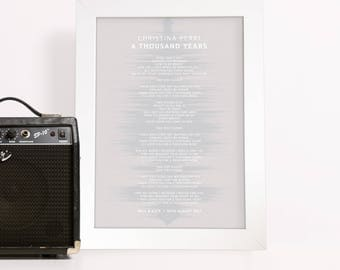 Custom Lyrics Sound Wave Print - Framed Art Print with Soundwave Background Fully Personalised with your song