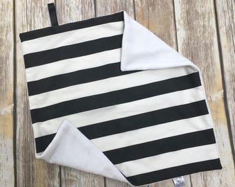 Black and White Lovey Blanket, Organic Baby Blanket, Minky Blanket, Lovie, Girls Blanket, Stroller Blanket, Striped Baby Blanket