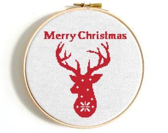 Merry Christmas Deer cross stitch pattern PDF Scandinavian Red cross stitch Deer Stag cross stitch Snowflakes cross stitch Modern embroidery