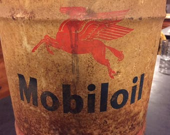 Vintage MobilOil 5 gallon oil can.  Pegasus logo.  wood handle