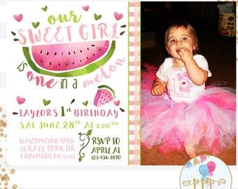 One in a Melon Sweet Girl Watermelon Photo Birthday Invitation