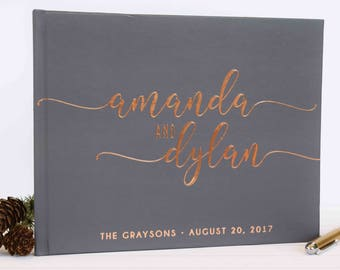 Real Gold Foil Wedding Guest Book landscape horizontal Gold foil Guest Books Custom Guestbook Modern Wedding Script Wedding - gray