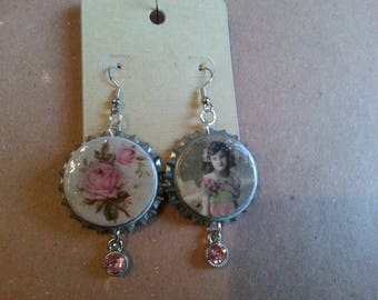 Handmade Recycled Bottle Cap Earrings Vintage look Pink Stone