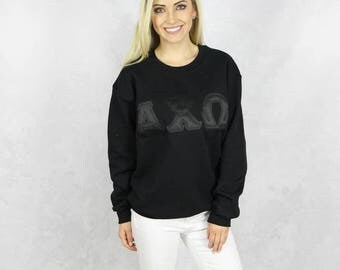 Alpha Chi Omega Crewneck Black on Black Sweatshirt