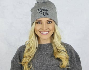 Alpha Chi Omega Beanie in Gray