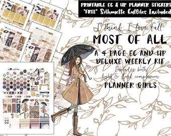 Fall Autumn Weekly Planner Stickers / Erin Condren weekly kit /Happy Planner weekly kit /Printable Planner Stickers /Silhouette Cut Files