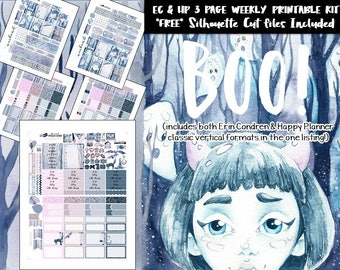 Halloween Weekly Planner Stickers / Erin Condren weekly kit /Happy Planner weekly kit /Printable Planner Stickers /Silhouette Cut Files